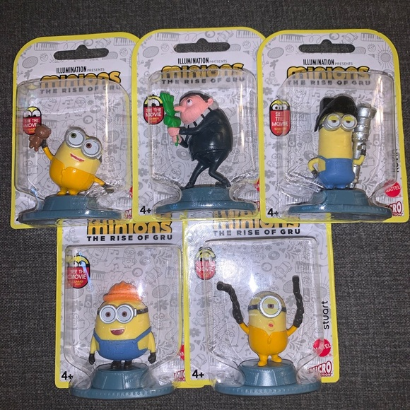 Despicable Me Minions The Rise of Gru Mini Figures Cake Toppers Toy Lot of 5 New